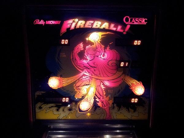 Fireball classic backglass lit up