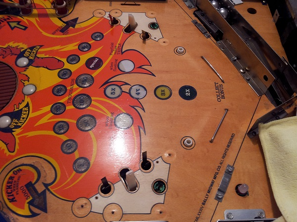 Fireball lower playfield mylar removed